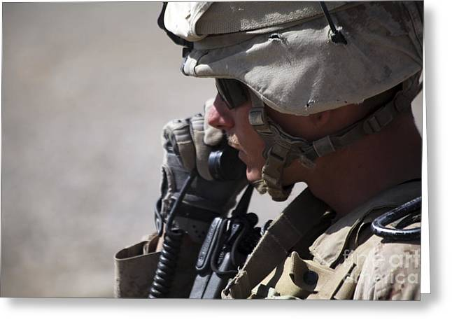 Field Telephone Greeting Cards - A Squad Leader Puts His Marines Greeting Card by Stocktrek Images