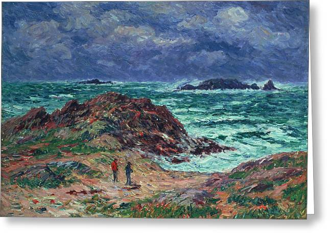 Henry Greeting Cards - A Squall Greeting Card by Henry Moret