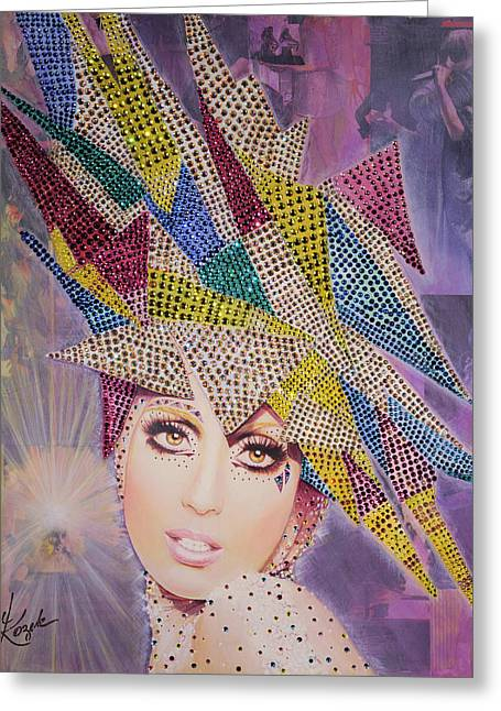 Lady Gaga Paintings Greeting Cards - A Star is Born This Way Greeting Card by Stapler-Kozek
