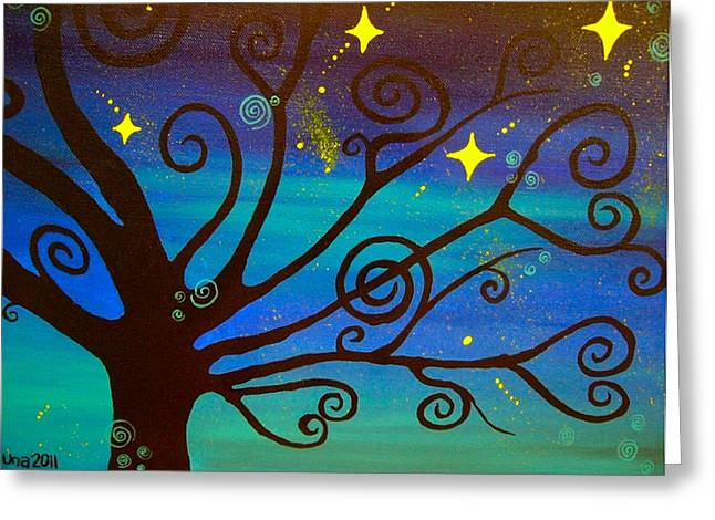 Stary Sky Greeting Cards - A Starlit Night  Greeting Card by Una  Miller