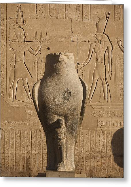 Horus Greeting Cards - A Statue Of A Falcon At The Temple Greeting Card by Taylor S. Kennedy