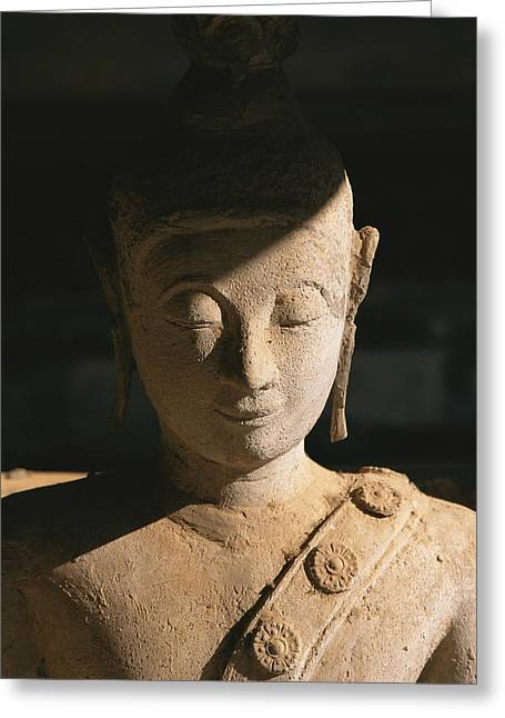 Indochinese Architecture And Art Greeting Cards - A Statue Of Buddha With Eyes Shut Greeting Card by Paul Chesley