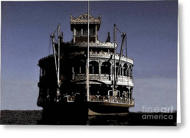 Steamboat Digital Art Greeting Cards - A steamboat a comin Greeting Card by David Lee Thompson