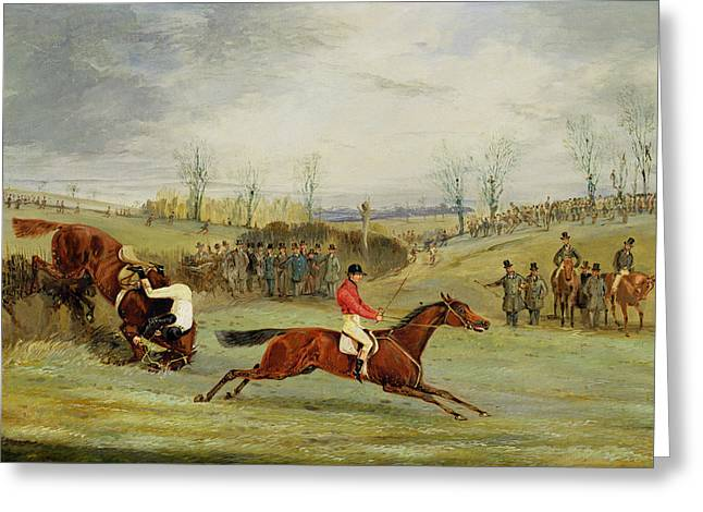 Jockeys Greeting Cards - A Steeplechase - Another Hedge Greeting Card by Henry Thomas Alken