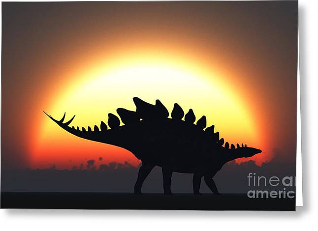 Primeval Greeting Cards - A Stegosaurus Silhouetted Greeting Card by Mark Stevenson