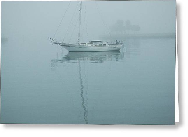 St Petersburg Florida Greeting Cards - A Still Gray Sailboat Waterscape Greeting Card by Jennifer Holcombe