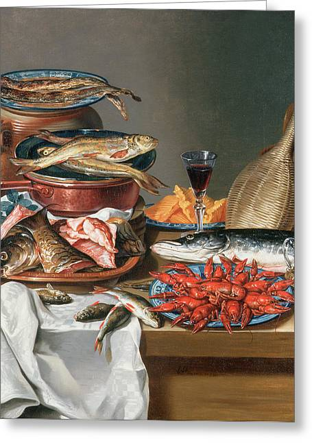 Glass Of Wine Greeting Cards - A Still Life of a Fish Trout and Baby Lobsters Greeting Card by Anton Friedrich Harms