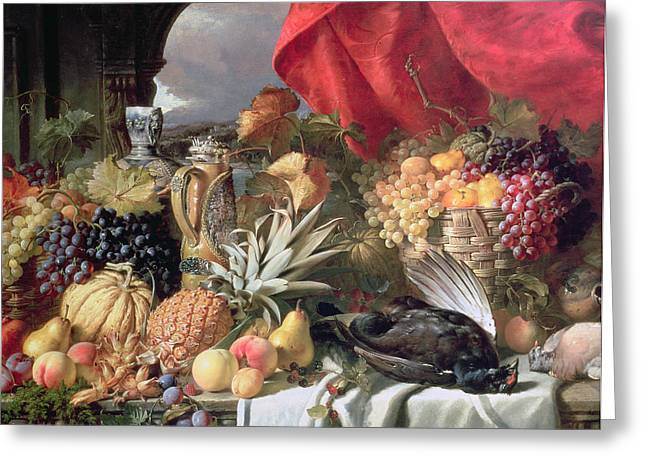 Melon Paintings Greeting Cards - A Still Life of Game Birds and Numerous Fruits Greeting Card by William Duffield