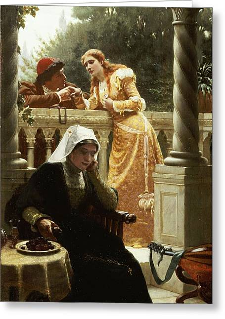 Interviewed Greeting Cards - A Stolen Interview Greeting Card by Edmund Blair Leighton
