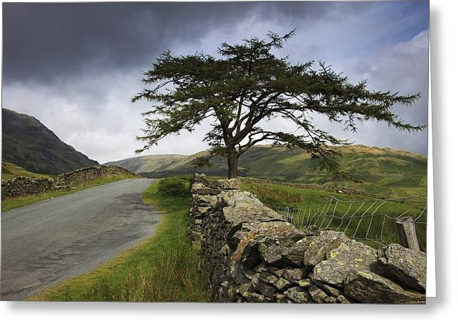 Stone Fence Greeting Cards - A Stone Fence Running Along A Road Lake Greeting Card by John Short