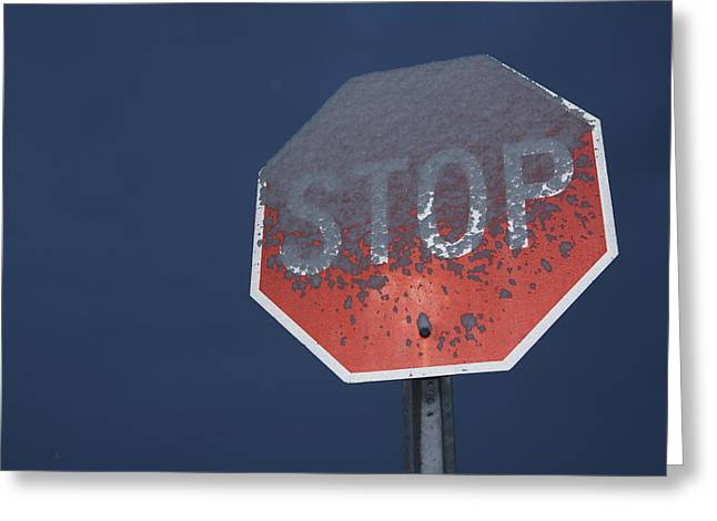 A Stop Sign Covered In Snow Greeting Card by John Burcham