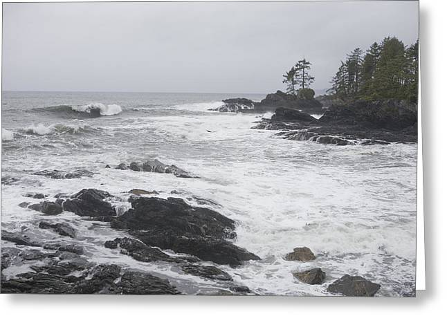 Port Renfrew Greeting Cards - A Storm Lashes The Coastline Of British Greeting Card by Taylor S. Kennedy