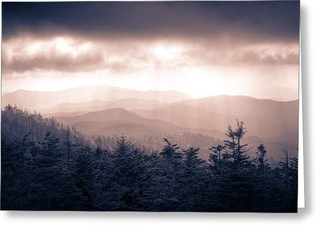 Great Smokey Mountains Greeting Cards - a Storm Over the Smokys Monotone Greeting Card by Pixel Perfect by Michael Moore