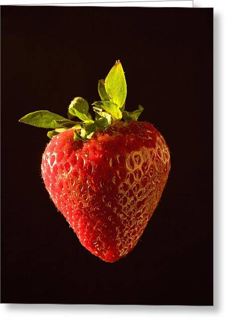 Black Berries Greeting Cards - A Strawberry Greeting Card by Michael Interisano