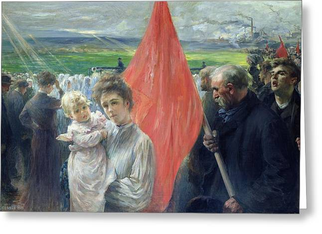 Communism Greeting Cards - A Strike at Saint Ouen Greeting Card by Paul Louis Delance