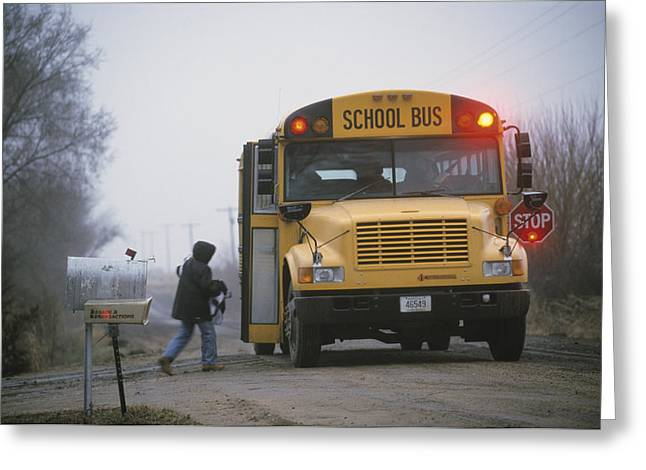 Vehicle Of Life Greeting Cards - A Student Boards A School Bus Greeting Card by Joel Sartore