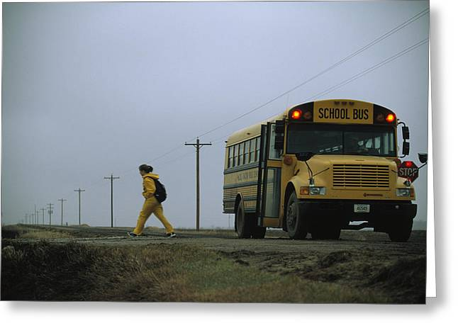 Vehicle Of Life Greeting Cards - A Student Heads Home After The Journey Greeting Card by Joel Sartore