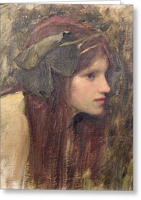 Headband Greeting Cards - A Study for a Naiad Greeting Card by John William Waterhouse