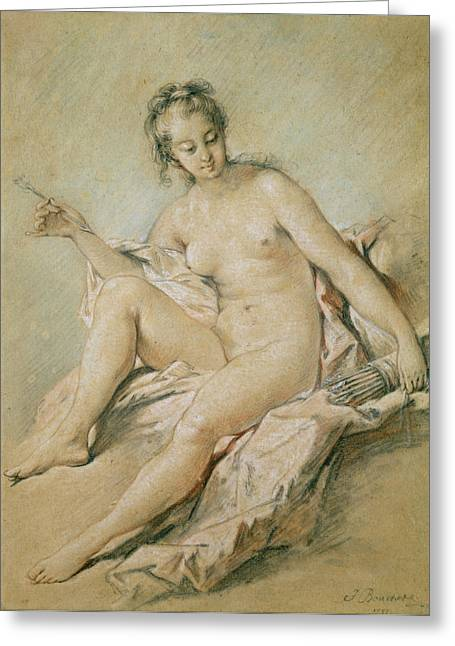 Sitting Pastels Greeting Cards - A study of Venus Greeting Card by Francois Boucher