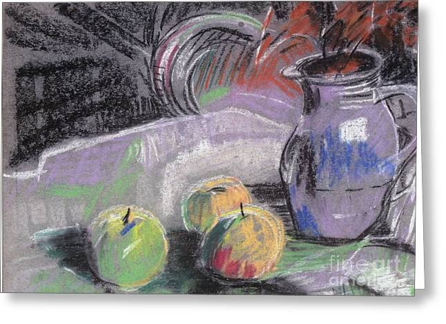 Water Jug Greeting Cards - A study with pastels Greeting Card by Duygu Kivanc