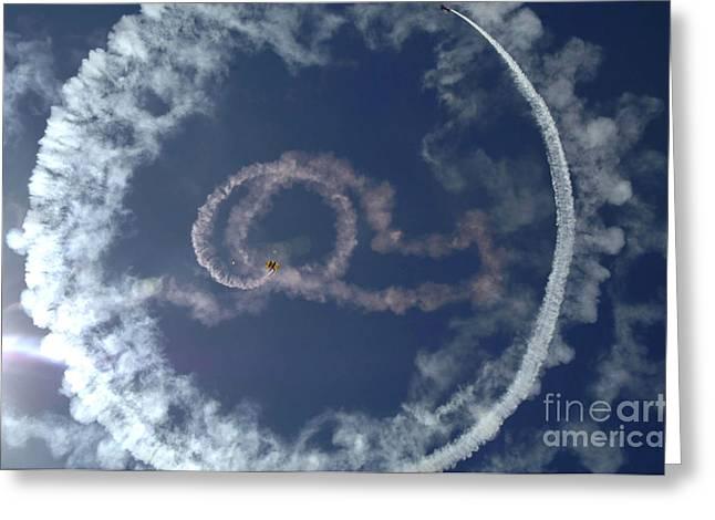 A Stunt Plane Flies Greeting Card by Stocktrek Images