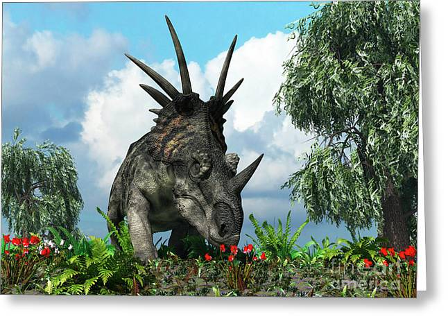 Large Scale Digital Art Greeting Cards - A Styracosaurus Samples Flowers Greeting Card by Walter Myers
