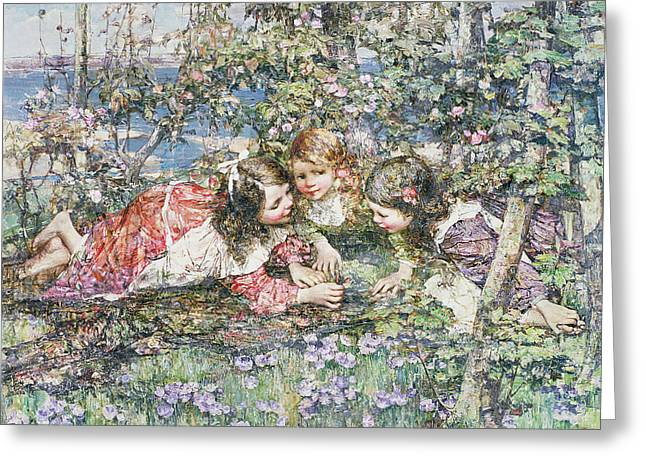 Blonde On Blonde Greeting Cards - A Summer Idyll Greeting Card by Edward Atkinson Hornel