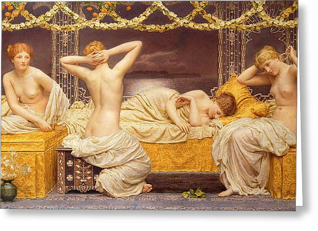 Night Out Paintings Greeting Cards - A Summer Night Greeting Card by Albert Joseph Moore