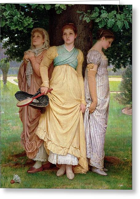 Racquet Paintings Greeting Cards - A Summer Shower Greeting Card by Charles Edward Perugini