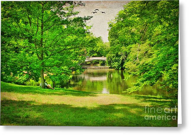 Ducks Digital Art Greeting Cards - A Summers Day Greeting Card by Darren Fisher