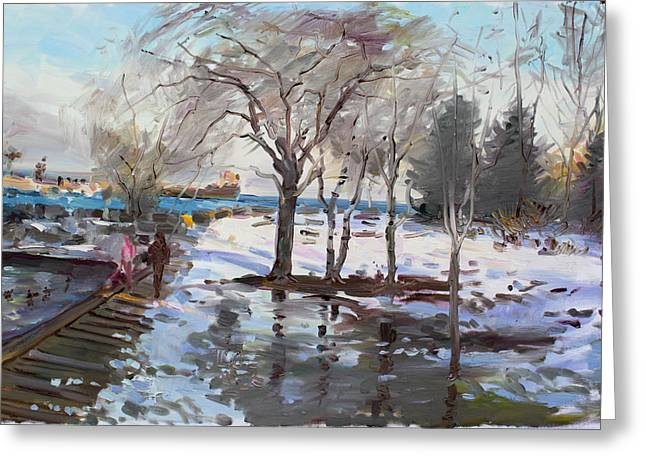Snow Scape Greeting Cards - A sunny freezing day Greeting Card by Ylli Haruni
