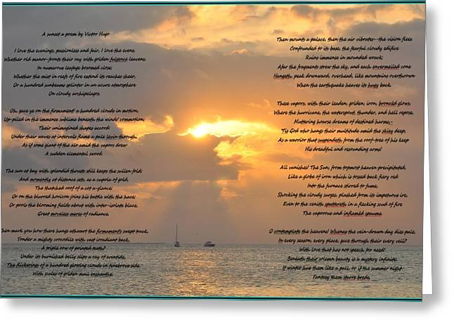 Victor Hugo Greeting Cards - A Sunset A Poem - Victor Hugo Greeting Card by Bill Cannon