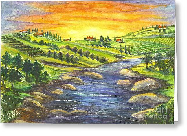 Napa Valley Vineyard Drawings Greeting Cards - A Sunset In Wine Country Greeting Card by Carol Wisniewski