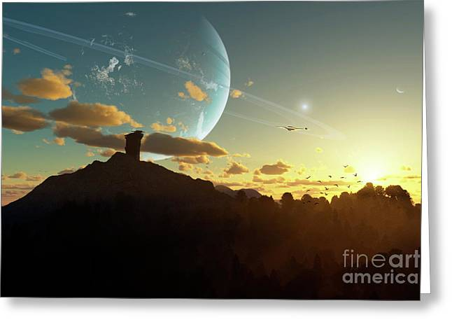 A Sunset On A Forested Moon Which Greeting Card by Brian Christensen