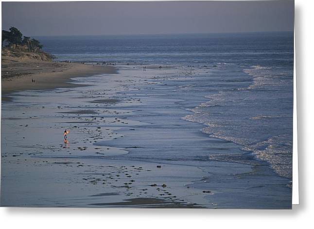 Gaviota Greeting Cards - A Surfer Heads Towards The Water Greeting Card by Rich Reid
