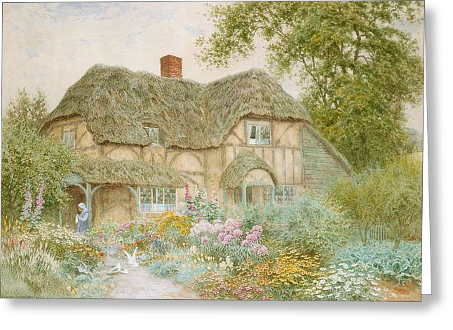 Flower Bed Greeting Cards - A Surrey Cottage Greeting Card by Arthur Claude Strachan