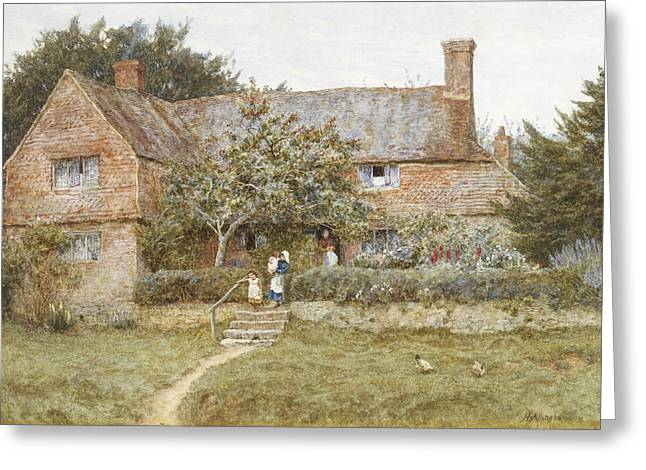 Female Artist Greeting Cards - A Surrey Cottage with a Mother and her Children Greeting Card by Helen Allingham