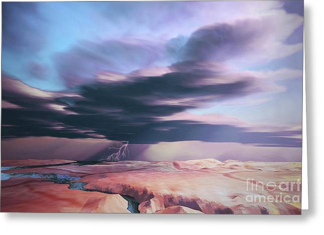 Images Lightning Digital Art Greeting Cards - A Swift Moving Thunderstorm Moves Greeting Card by Corey Ford