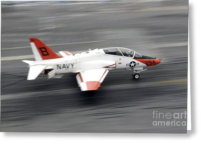 Flight Deck Greeting Cards - A T-45c Goshawk Training Aircraft Makes Greeting Card by Stocktrek Images