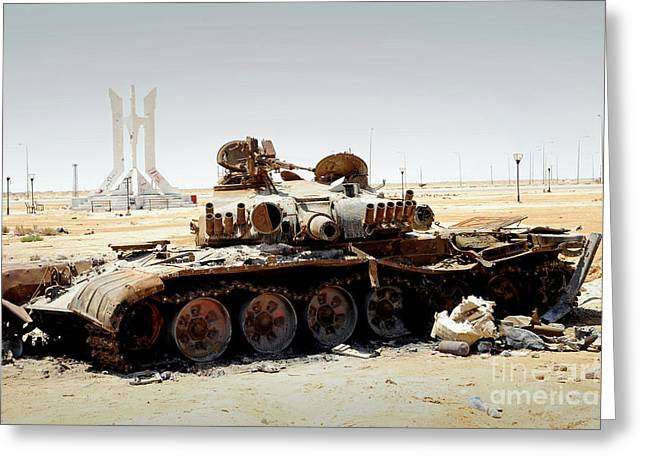 Liberation Greeting Cards - A T-80 Tank Destroyed By Nato Forces Greeting Card by Andrew Chittock