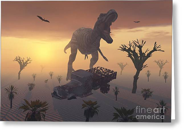 Rusty Pickup Truck Greeting Cards - A T. Rex And A Dilapidated 1930s Style Greeting Card by Mark Stevenson