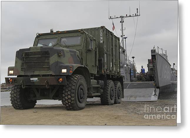 Tactical Greeting Cards - A Tactical Vehicle Is Off-loaded Greeting Card by Stocktrek Images