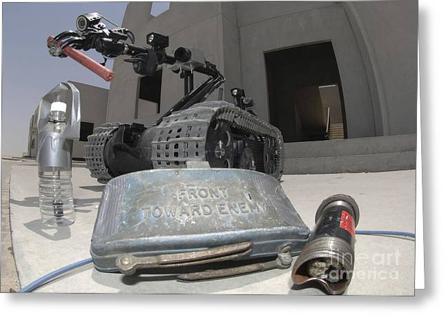 Bahrain Greeting Cards - A Talon 3b Robot Recovering A Stick Greeting Card by Stocktrek Images
