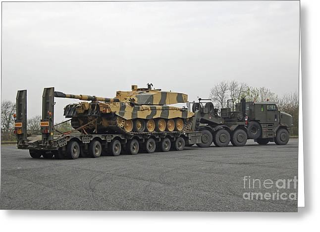 A Tank Transporter Hauling A Challenger Greeting Card by Andrew Chittock