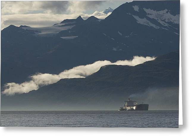 Prince William Greeting Cards - A Tanker Cruises Through Prince William Greeting Card by Michael S. Quinton