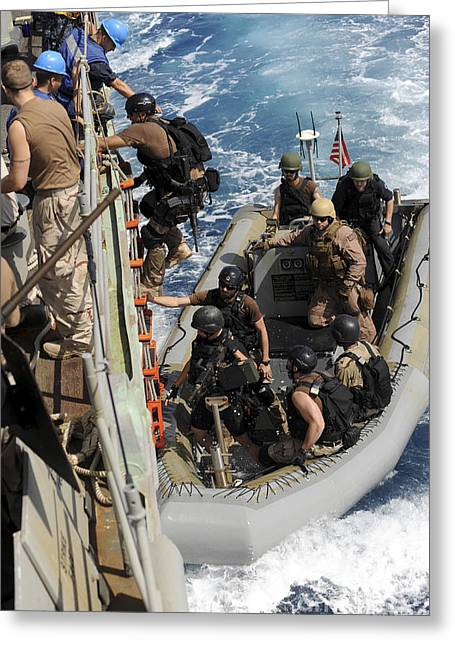 Gulf Team Greeting Cards - A Task Force Team Returns To Ship Greeting Card by Stocktrek Images