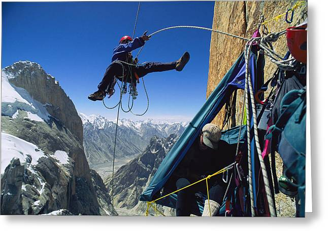 Nameless Greeting Cards - A Team Member Rappels Greeting Card by Bill Hatcher