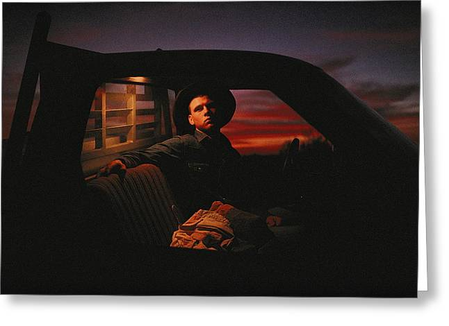 Vehicle Of Life Greeting Cards - A Teenage Cowboy Sitting In The Cab Greeting Card by Joel Sartore