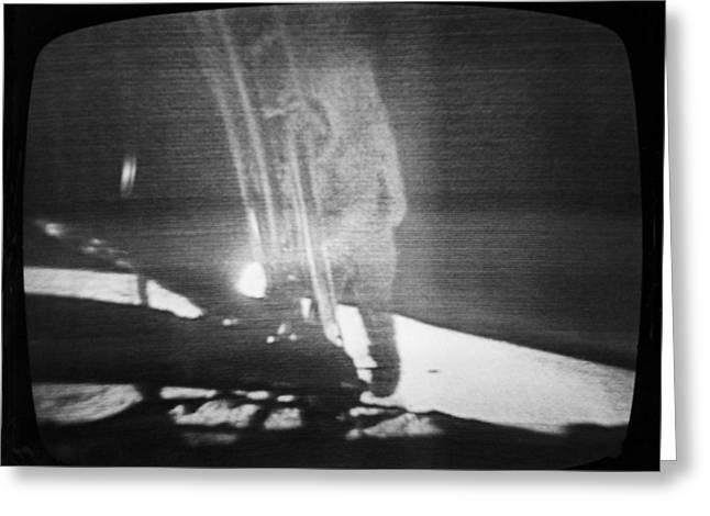 Neil Armstrong The Moon Greeting Cards - A Televised View Of The Apollo 11 Greeting Card by Rex A. Stucky