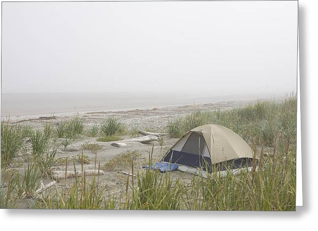 A Tent Sits In The Dunes By The Beach Greeting Card by Taylor S. Kennedy